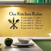 Aiwall 9312 Newest Hot Sale Hot Removable Kitchen Rules Words Wall Stickers Decal Home Decor Vinyl Art Mural