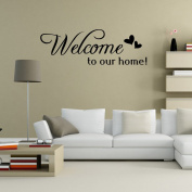 Aiwall 9307 Art Wall Stickers Welcome to Our Home DIY Home Decorations Wall Decals Living Room Quote DIY Wall Quote Decor