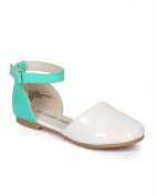 Little Angel CH90 Girl Patent Two Tone D'orsay Round Toe Ankle Strap Flat (Toddler) - White / Teal