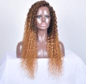 kinky Curly Lace Front Wigs 100% Density Ombre Human Hair for Black Women Guleless .