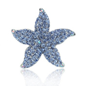 DoubleAccent Hair Jewellery Small Crystal Starfish Barrette Blue Colour