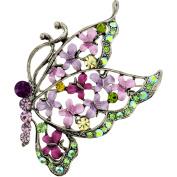 Multi Purple Flying Butterfly  .   Crystal Brooch Pin