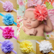 CHN'S 10pcs Bbay Girl Infant Lace Flower Headband Kids Children Toddler Hairband Hair Tie Headwear Accessories Multi-colour Baby Head Accessories Multi-layer Big Flower Baby Head Wear