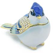 Blue Jay Trinket Box with  .   Crystal