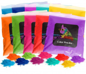 Holi Colour Powder 10pk 0.5kg. Each Red, Yellow, Navy Blue, Green, Orange, Purple, Pink, Magenta, True Blue, Aquamarine