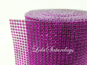 LolaSaturdays 11cm x 9.1m Diamond Rhinestone Ribbon Wrap Roll- Cake and party decoration Purple