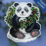 Mill Hill Winter Holiday Ornament Counted Cross Stitch Kit w/ Glass Beads & Treasure Holiday Panda MH184304