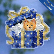 Mill Hill Winter Holiday Ornament Counted Cross Stitch Kit w/ Glass Beads & Treasure Cat in the Box MH184302