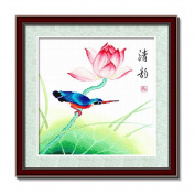 DOMEI Stamped Cross Stitch Kit, Kingfisher On a Lotus, 48cm x 48cm