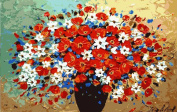 Greek Art Paintwork Paint Colour By Numbers,Beautiful Flowers,41cm -by-50cm