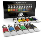 Acrylic Paint Set - Artist Quality Paints for Painting Canvas, Wood, Clay, Fabric, Nail Art, Ceramic & Crafts - 12 x 12ml Vibrant Heavy Body Colours - Rich Pigments - Professional Supplies by MyArtscape