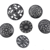 Souarts Mixed Antique Silver Colour Pattern Engraved Metal Buttons Pack of 50pcs