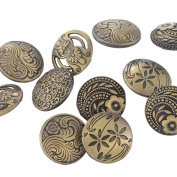 Souarts Mixed Antique Bronze Colour Round Shape Pattern Engraved Metal Buttons Pack of 30pcs