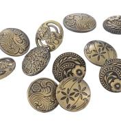 Souarts Mixed Antique Bronze Colour Round Shape Pattern Engraved Metal Buttons Pack of 30pcs