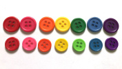 100 Pcs Rainbow 4 Holes Buttons - Mix Size