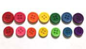 100 Pcs Rainbow 4 Holes Buttons - Mix Size