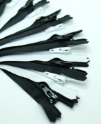 YKK Zipper, 18cm , #3 For Skirt & Dress, Closed Bottom (12 Zippers / Pack), 6 Black and 6 White with Needle Threader 2pcs.