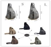 Kalevel Cool Outdoor Sports Casual Canvas Unbalance Backpack Crossbody Sling Bag Shoulder Bag Chest Bag for Men