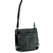Buckled Sides Messenger Slim Roomy Italian Leather Bag By Silver Fever®