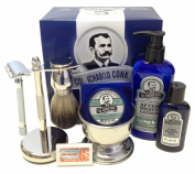 Colonel Conk Complete 8-Piece Shave Kit with Gift Box - includes Chrome Stand, Merkur Safety Razor, Badger Shave Brush, Chrome Shaving Bowl, Original Pre-Shave Oil, High Desert Breeze Natural Shave Soap, High Desert Breeze After-Shave Lotion, (5) Merku ..
