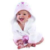 Baby Aspen Little Princess Hooded Spa Robe, Pink/White