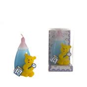 "Lunaura Baby Keepsake - Set of 12 ""Boy"" Teddy Bear with Baby Bottle Candle - Blue"