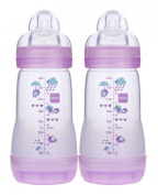 MAM Anti-Colic Bottle, Girl Colours, 270ml, 2-Count
