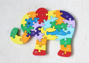 HSE Children's Animal Alphabet Cognitive wooden Jigsaw Puzzle Three-Dimensional Jigsaw Puzzle Enlightenment 2-4 Years Old Baby Preschool Educational Toy Building Blocks Also As a Christmas and Birthday Gift-Elephant