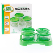 Glass Baby Food Jars (4 - 60ml) - Microwavable, Freezer and Dishwasher Safe with Tray and Recordable Marker