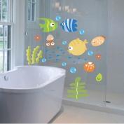 LSD Lovely Wall Decal Tropical Cartoon Fish Sea Bubble Ocean World Removable Wall Sticker Kids Decal Washroom Bathroom Nursery Baby Room Home Art Wall Decor