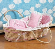 Baby Girl Moses Basket Bassinet Sea Grass Lined, Blanket, Pillow Pink Gingham