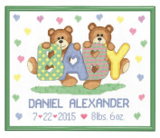Janlynn Teddy Baby Birth Announcement Cross Stitch Kit