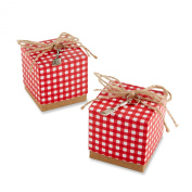 Kate Aspen Red Gingham Favour Box with Spatula Charm, Red/White