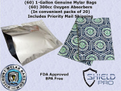 (60) 3.8l Genuine Mylar Bag + (60) 300cc Oxyfree Oxygen Absorbers (in packs of 20) for Long Term Food Storage