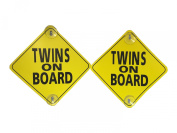 Twins on Board - 2 Pack - Large 15cm x 15cm Yellow Car Signs with 2 Attached Suction Cups.