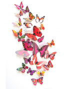 12 Set PVC 3d Butterfly Decal Wall Stickers Kids Room Decor Decoration Sticker