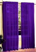New 2 Pc Sexy Sheer Voile Window Curtain Panel Set Dark Purple