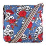 Miss Lulu Canvas Satchel Messenger Shoulder Cross Body Back To School Bag Skull Roses Print