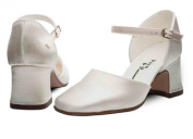 Ivory Satin Bridesmaids Bridal flower Girls Shoes 12,13,1,2,3,4,5,6,7 ISABELLA H/H By Katz