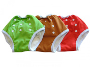 Three Little Imps Button Up Toddler Training Pants -Set of 3 Red, Green, Brown