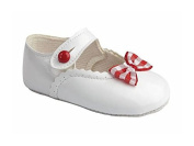 Baby Girls Baypods First Pram Shoes - Button Bar with Gingham Bow Design