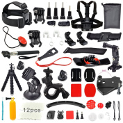 Erligpowht GoPro Accessories Outdoor Sports Bundle Kit for GoPro Hero 4/3+/3/2/1 Cameras and sj4000/sj5000 cameras in Parachuting Swimming Rowing Surfing Skiing Climbing Running Bike Riding Camping Diving Outing Any Other Outdoor Sports . Chest/Head Mo ..