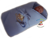 BlueberryShop Jersey Embroidered Swaddle Wrap/Blanket for Newborn Baby with Stiffened/Hard Back, Blue