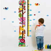 Qianxing removable cycle-usable cartoon wall sticker for kid's bedroom animal Height Chart in Nursery Children Room colourful Wall Decal for house home mural Décor height metre wallpaper