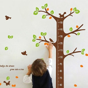 Qianxing removable cycle-usable cartoon wall sticker for kid's bedroom animal Height Chart in Nursery Children Room colourful Wall Decal for house home mural Décor height metre wallpaper(green tree)