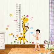 Qianxing removable cycle-usable cartoon wall sticker for kid's bedroom animal Height Chart in Nursery Children Room colourful Wall Decal for house home mural Décor height metre wallpaper(giraffe and monkey)