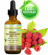 """Botanical Beauty Red Raspberry Seed Oil Organic. 100% Pure / Natural / Undiluted / Virgin / Unrefined Cold Pressed Carrier Oil. 2 Fl.oz.-60 ml. For Skin, Hair, Lip And Nail Care. """"One Of The Highest Anti-Oxidant, Rich In Vitamin A And E, Omega 3, 6 And .."""