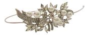 Bridal Hair Accessories Pearl Silver Crystal Headband/Side Tiara