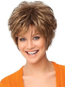 Hmy Short Side Bangs Curly Synthetic Hair Wigs for Lady