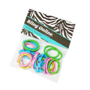 Bling Online Bag of 16 Small 2.5cm Daisy Print Hair Elastics, Mixed Colours.